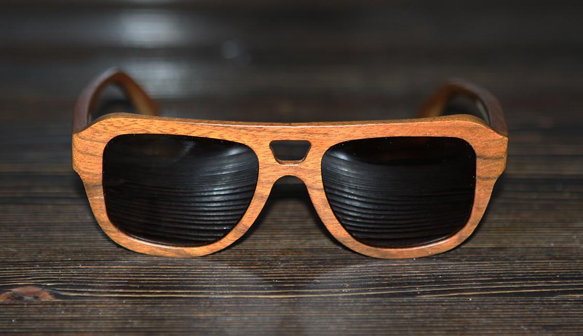 Очки солнечные NM-1108 в деревянной оправе (Тёмный орех)