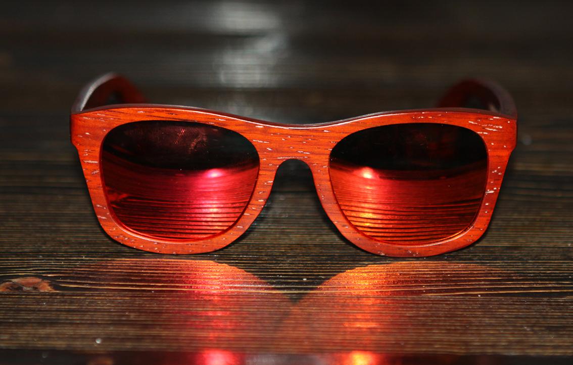 Очки солнечные NM-1166 в деревянной оправе (Азиатское Розовое дерево)